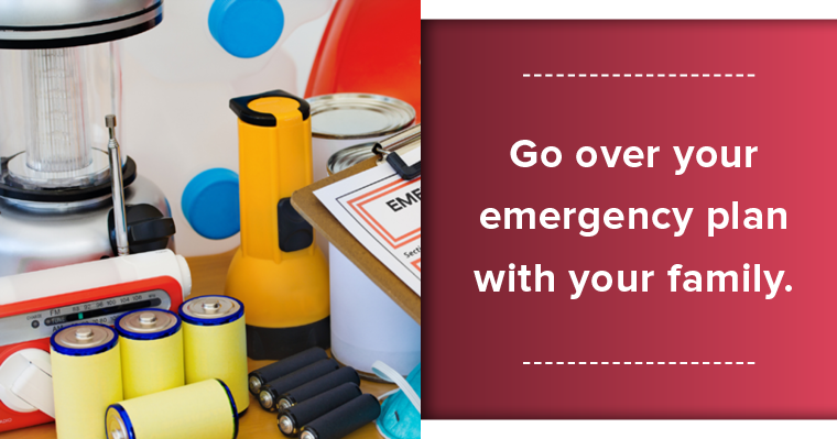 Image of flashlight, batteries, radio and an emergency plan